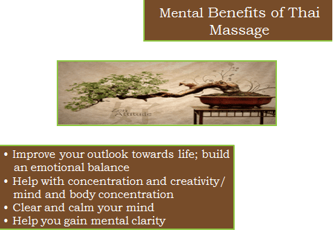 List of medical benefits of Thai massage with a picture of a potted tree
