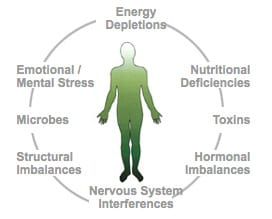 diagram of person and possible ailments that can be treated by holistic medicine