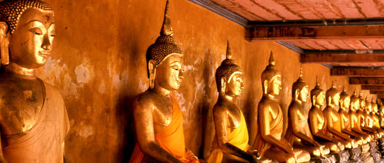 image of statues in a buddhist temple in Bangkok Thailand